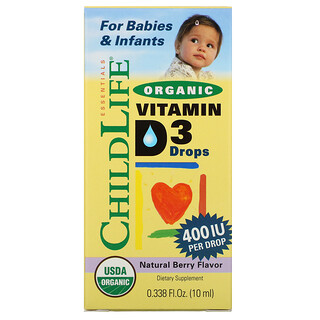 ChildLife, Gotas orgánicas de vitamina D3, Sabor a bayas naturales, 400UI, 10ml (0,338 oz. líq.)