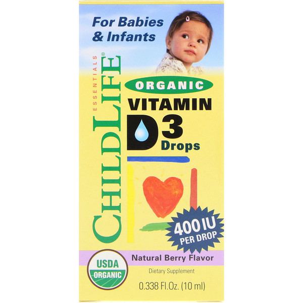 ChildLife, Organic Vitamin D3 Drops, Natural Berry Flavor, 400 IU, 0.338 fl oz (10 ml)