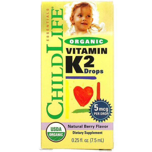 органический витаминK2 в каплях, натуральный ягодный вкус, 5мкг, 7,5мл (0,25жидк. унции)