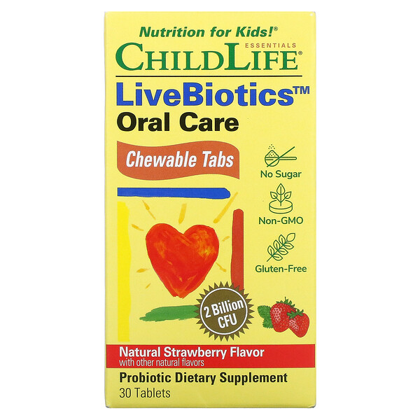 ChildLife, LiveBiotics, Oral Care, Natural Strawberry, 2 Billion CFU, 30 Chewable Tablets