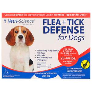 Vetri-Science, Flea + Tick Defense for Dogs 23-44 lbs., 3 Applicators, 0.045 fl oz Each отзывы