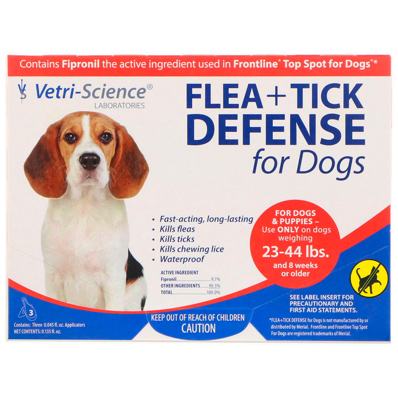 Flea + Tick Defense for Dogs 23-44 lbs., 3 Applicators, 0.045 fl oz Each