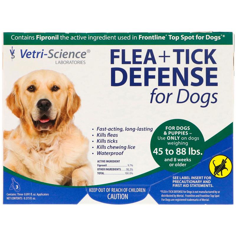 Flea + Tick Defense for Dogs 45-88 lbs., 3 Applicators, 0.091 fl oz Each