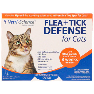 Vetri-Science, Flea + Tick Defense for Cats 8 Weeks or Older, 3 Applicators, 0.017 fl oz Each