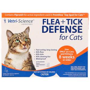 Vetri-Science, Flea + Tick Defense for Cats 8 Weeks or Older, 3 Applicators, 0.017 fl oz Each отзывы