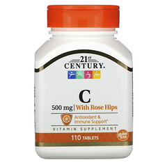 21st Century, 含玫瑰果的維生素 C,500 毫克,110 片