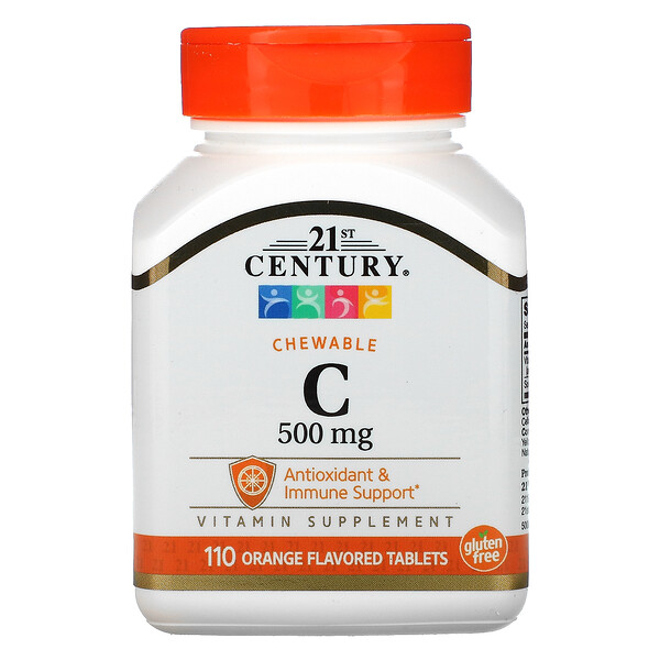 21st Century, Chewable C, Orange Flavor, 500 mg, 110 Tablets