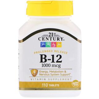 21st Century, B-12, liberación prolongada, 1000 mcg, 110 tabletas