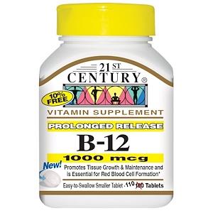 21st Century, B-12, пролонгированное действие, 1000 мкг, 110 таблеток