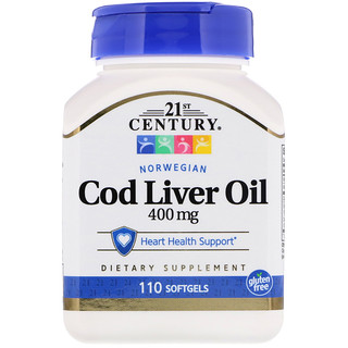 21st Century, Norwegian Cod Liver Oil, 400 mg, 110 Softgels