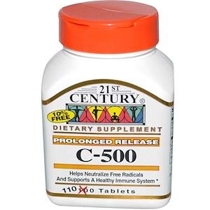 21st Century, C-500, пролонгированное высвобождение, 110 таблеток