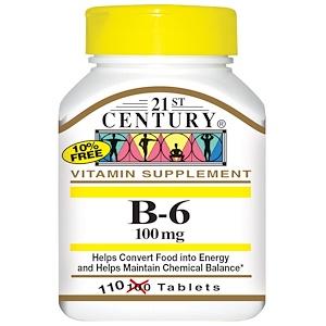 21st Century, Витамин B6, 100 мг, 110 таблеток