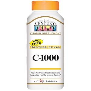 21st Century, C-1000, длительное высвобождение, 110 таблеток