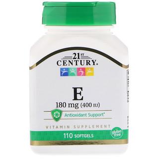 21st Century, فيتامين إي، 180 ملغ (400 وحدة دولية)، 110 كبسولة هلامية