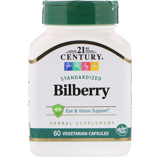 21st Century, Standardized Bilberry, 60 Vegetarian Capsules