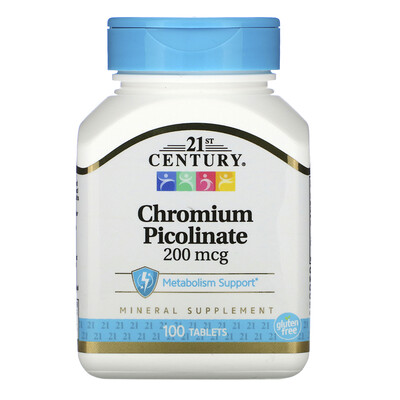 Купить 21st Century Пиколинат хрома, 200 мкг, 100 таблеток