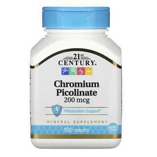 21st Century, Chromium Picolinate, 200 mcg, 100 Tablets