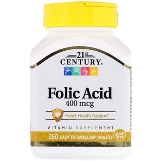 21st Century, Folic Acid, 400 mcg, 250 Easy to Swallow Tablets