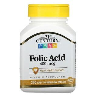 21st Century, Фолиевая кислота, 400 мкг, 250 легко проглатываемых таблеток