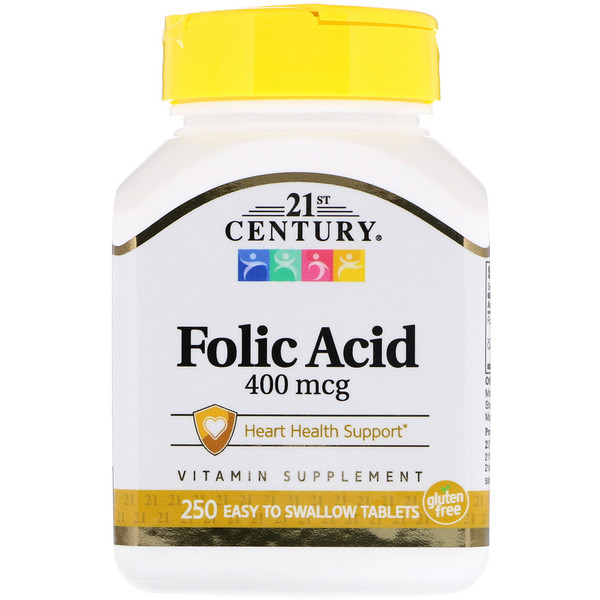 Folic Acid, 400 mcg, 250 Easy to Swallow Tablets