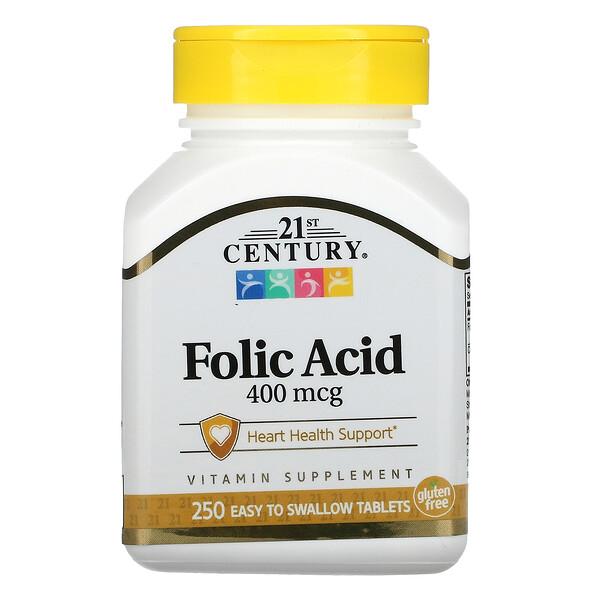 Folic Acid, 400 mcg, 250 Easy to Swallow Tablets