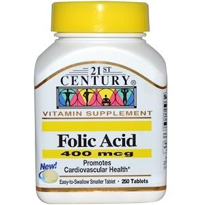 21st Century, Фолиевая кислота, 400 мкг, 250 таблеток купить на iHerb