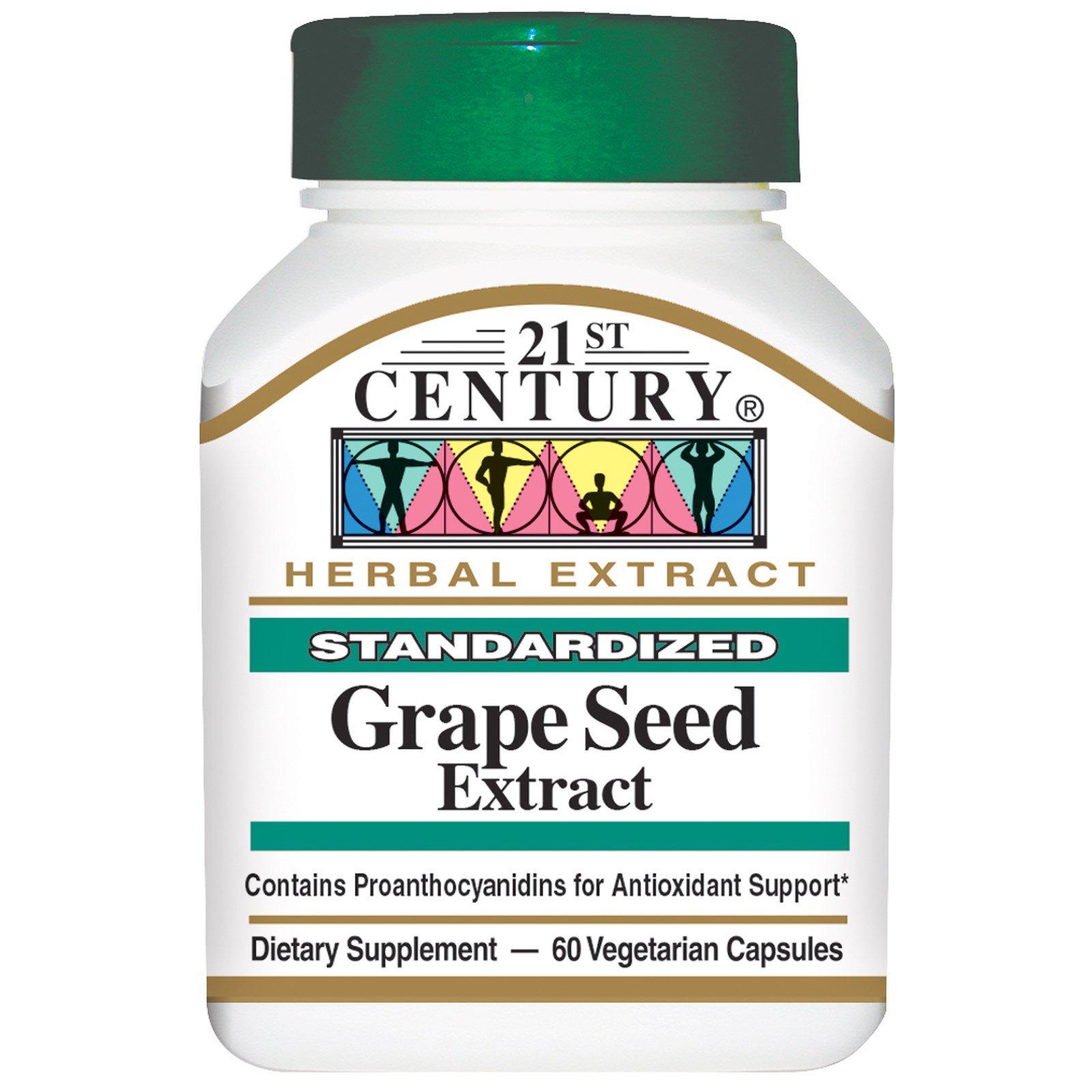 21st Century, Экстракт косточек винограда 60 овощных капсул