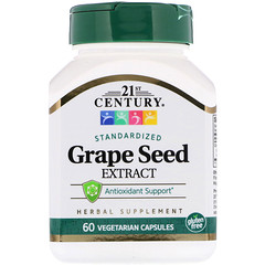 21st Century, Extracto de semilla de uva, 60 cápsulas vegetarianas