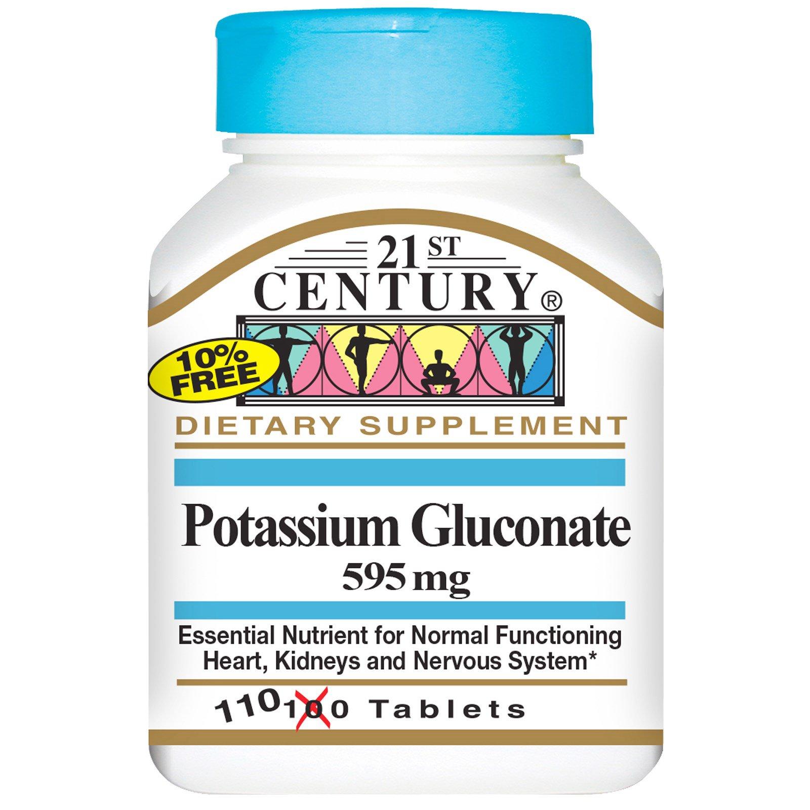 21st Century, Глюконат калия, 595 мг, 110 таблеток