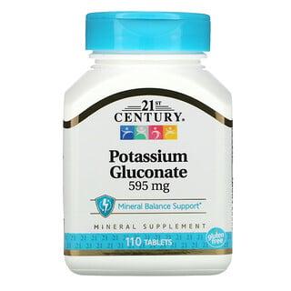 21st Century, Gluconato de potasio, 595 mg, 110 comprimidos