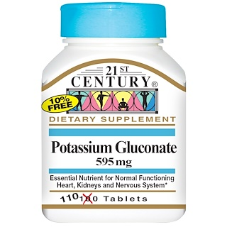 21st Century, Potassium Gluconate, 595 mg, 110 Tablets