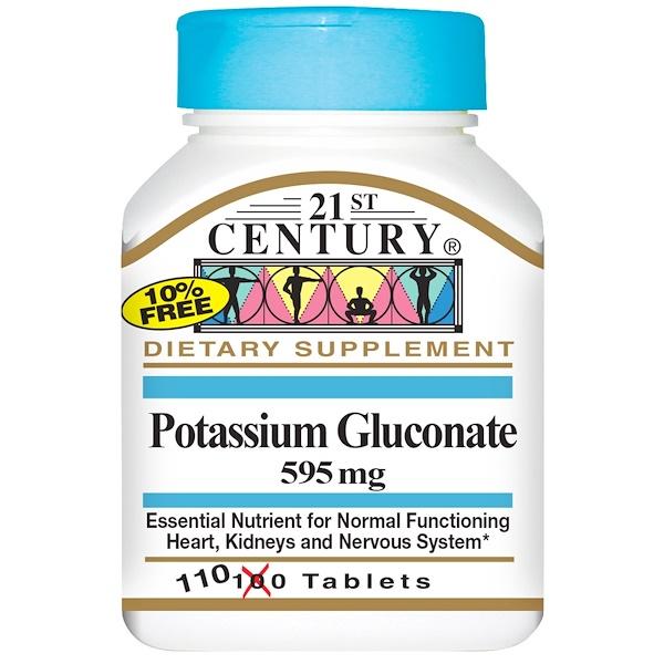 保健品礦物質鉀葡萄糖酸鉀:21st Century, 葡萄糖酸鉀,595 毫克,110 片