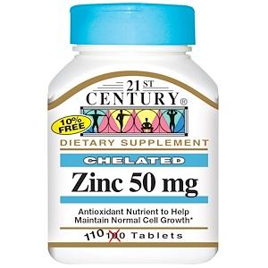 21st Century, Цинк, 50 мг, 110 таблеток купить на iHerb