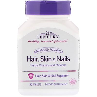 21st Century Волосы, кожа и ногти, усовершенствованная формула, 50 таблеток