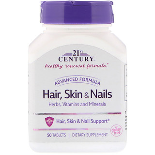 21st Century, Hair, Skin & Nails, Advanced Formula, 50 Tablets