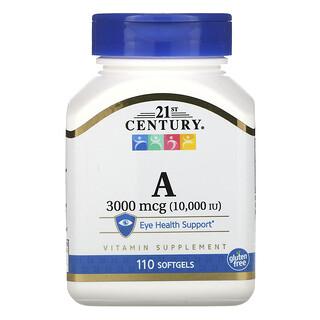 21st Century, 维生素 A,3,000 微克 (10,000 国际单位),110 粒软凝胶