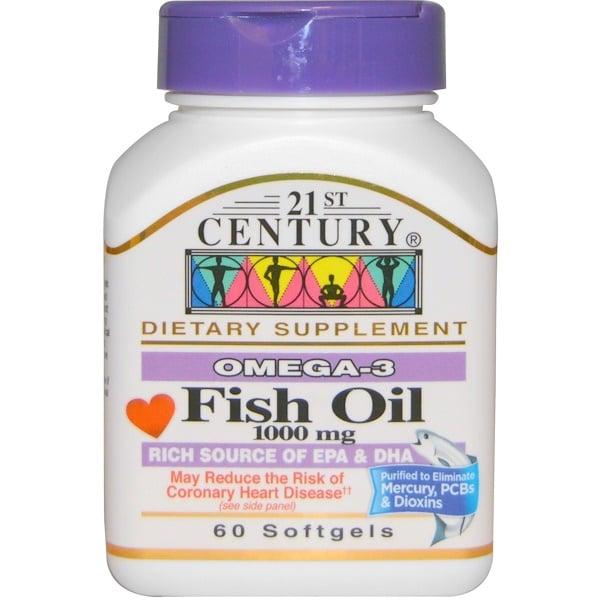 21st Century, زيت السمك، 1000 ملغ، 60 كبسولة رخوة