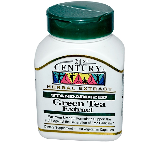 21st Century, Green Tea Extract, Standardized, 60 Veggie Caps (Discontinued Item)