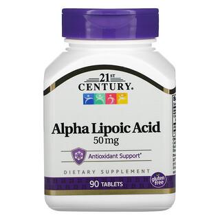 21st Century, Ácido Alfa-Lipóico, 50 mg, 90 comprimidos
