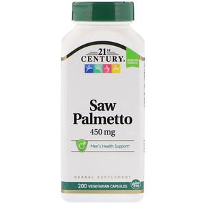 21 Сенчури, Saw Palmetto, 450 mg, 200 Vegetarian Capsules отзывы