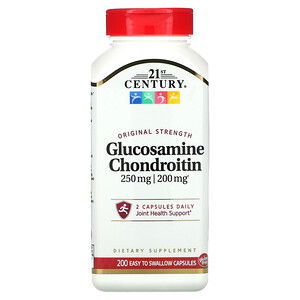 21 Сенчури, Glucosamine / Chondroitin, Original Strength, 250 mg / 200 mg, 200 Easy to Swallow Capsules отзывы покупателей