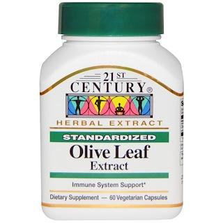 21st Century, Olive Leaf Extract, Standardized, 60 Veggie Caps