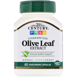 21st Century, Olive Leaf Extract, Standardized, 60 Vegetarian Capsules