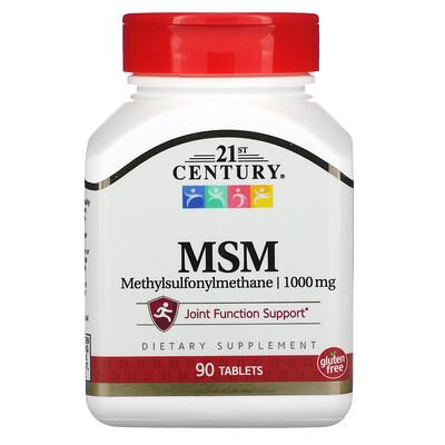 21st Century МСМ, метилсульфонилметан, 1000мг, 90таблеток