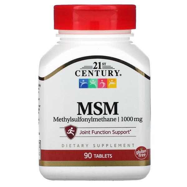 MSM, Methylsulfonylmethane, 1,000 mg, 90 Tablets