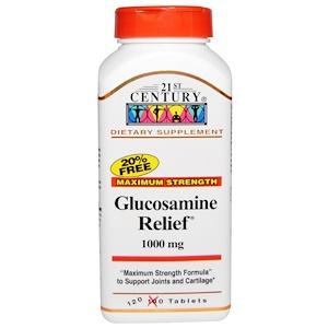 21st Century, Глюкозамин Relief, максимальная сила, 1,000 мг, 120 таблеток в оболочке
