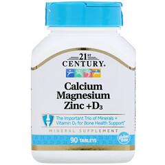 21st Century, カルシウムマグネシウム亜鉛+D3、90錠