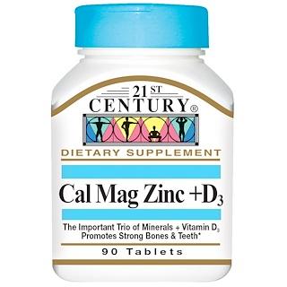 21st Century, カルシウム・マグネシウム・亜鉛+D3, 90錠