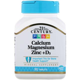 21st Century, Calcio, magnesio y zinc + D3, 90 tabletas