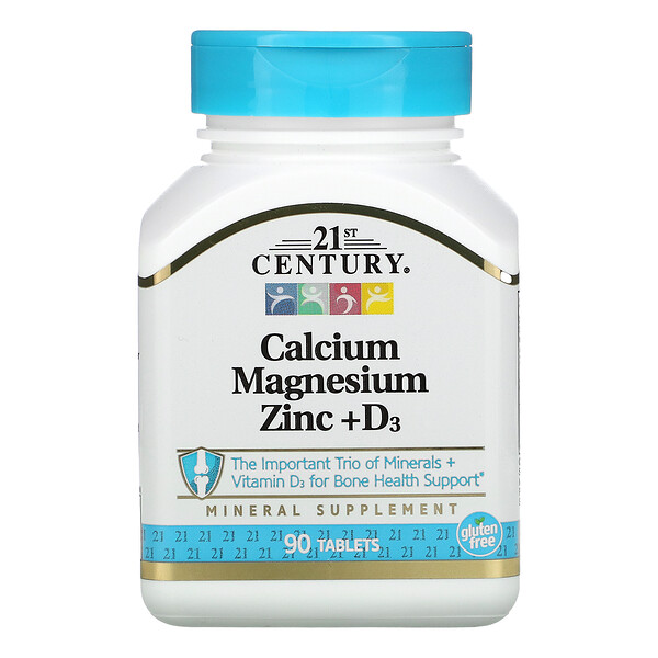 21st Century, кальций, магний, цинк и витаминD3, 90таблеток